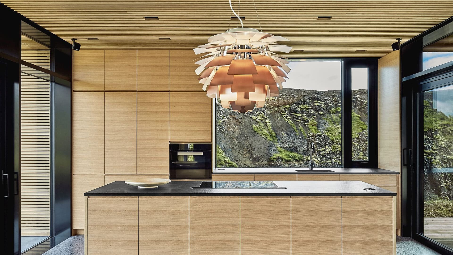 see the artichoke hanging lamp in interior