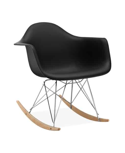 Eames style rocking chair plastic black side view - byBESPOEK