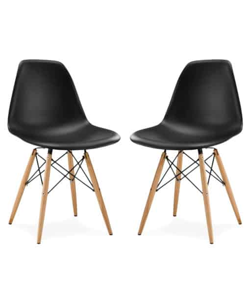 Eames style DSW chair plastic black side view 2 pieces - byBESPOEK