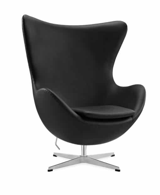 Arne Jacobsen egg chair eco leather without piping black side view | byBespoek