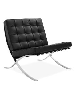 barcelona chair classic leather black side view - byBESPOEK