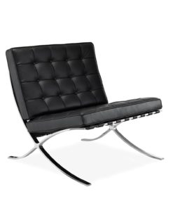 barcelona chair premium leather black side - byBESPOEK