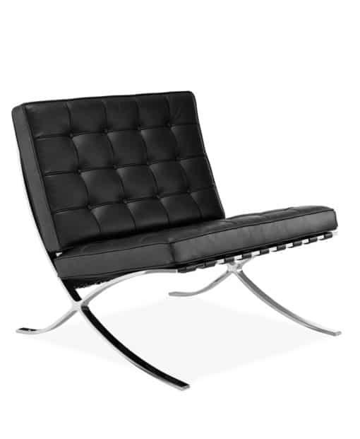 barcelona chair premium leather black side - byBESPOEK