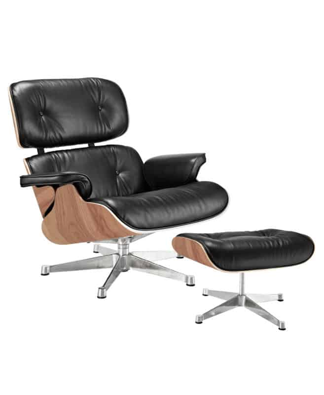 eames lounge chair and stool premium leather ash black side view - byBESPOEK