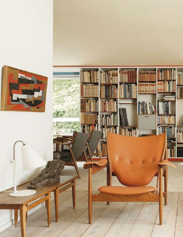 mid century decor with books