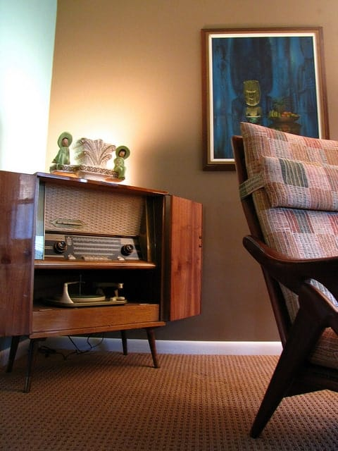 mid century decor with vintage technology radio