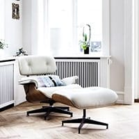Eames Lounge Chair<br /><b>Walnut Wood + White Leather</b>