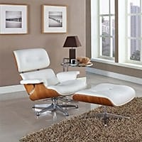 Eames Lounge Chair<br /><b>American Ash Wood + White Leather</b>