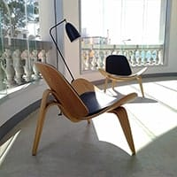 Shell Chairs<br /><b>American Ash Wood + Black Leather</b>