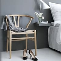 Wishbone Chair - <b>Beech</b><br />AJ Table Lamp - <b>White</b>